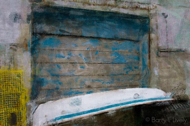 Boat, lobster traps,door