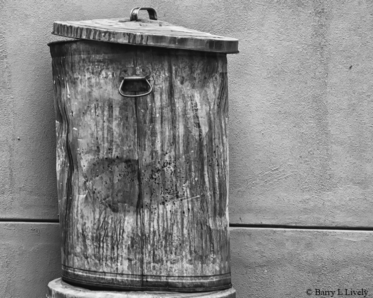 A jaunty and disreputable garbage can
