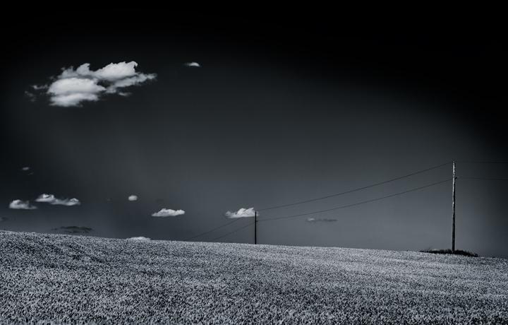 Clouds, telephone poles,field